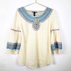 Lucky brand top M long sleeves embroidered ivory